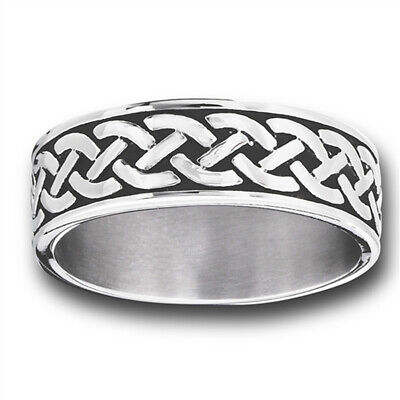Celtic Infinity Braid Knot Woven Wedding Ring Stainless Steel Band Sizes 7-15