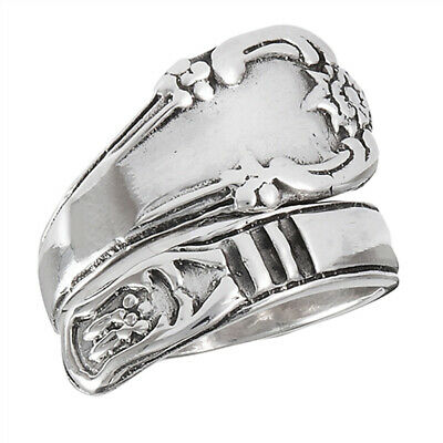 19d2f3034e59d VICTORIAN FLOWER SPOON Ring Stainless Steel Open Wrap Vintage Band ...