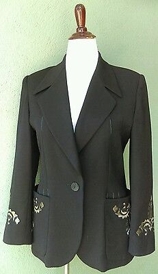 ESCADA Navy Blazer with Gold Designs on Pockets and Sleeves Sz 40 (US 8-10)
