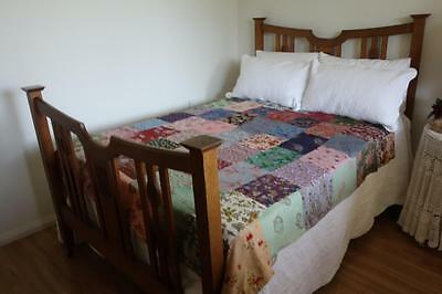 Vintage Country Cottage  50's Handmade Patchwork Double Doona Cover