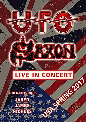 "UFO / SAXON ""USA SPRING 2017 LIVE IN CONCERT"" TOUR POSTER- Hard/Space Rock Music"