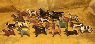 Vtg Mixed Lot 22 Hard Plastic / Hand Painted Dog Figurines: All Different Breeds