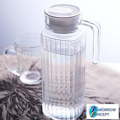 2x 1.1L Glass Water Juice Jug with Lid, Pitcher Bottle