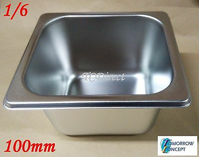 Stainless Steel Bain Marie Tray Pan GN 1/6 100mm deep for Gastronorm