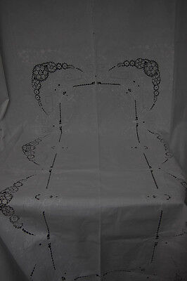 "VINTAGE WHITE COTTON LARGE TABLECLOTH LACE & EMBROIDERY HANDWORKED 98"" x 64"""