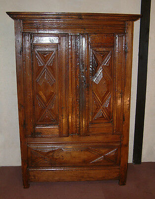 17th Century Small French Walnut and Oak Armoire.