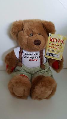 "RUFUS the Bear with Diabetes plush toy 11"" tall in excellent condition with tag"