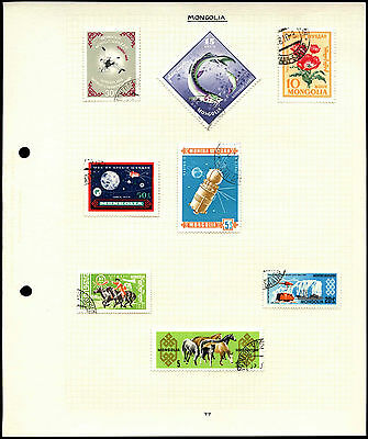 Mongolia Album Page Of Stamps #V4454