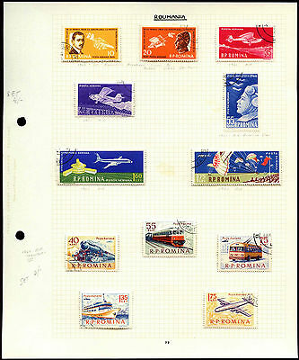 Romania Aircrafts, Trains Album Page Of Stamps #V4409