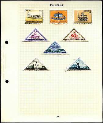 San Marino Album Page Of Stamps #V4459