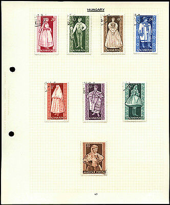 Hungary Costumes Album Page Of Stamps #V4504