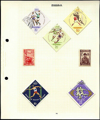 Mongolia Album Page Of Stamps #V4453