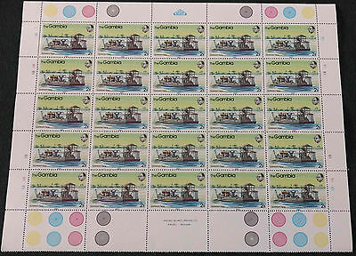Gambia 1983, 2B River Craft MNH Half A Sheet Plate 1B #V4174
