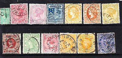 Victoria 1901-12 Set 13 To 2/- Blue On Pink Used (I4)