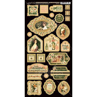 Graphic 45 PORTRAIT OF A LADY - Decorative Chipboard Die-cuts - Scrapbooking