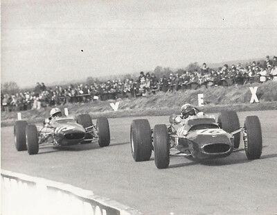 Stewart Leading Surtees Lola Easter 1967 Period Photograph.