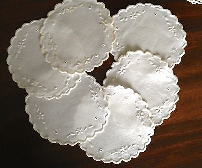 Antique Embroidered Coasters Or Rounds Hand Set Of 6