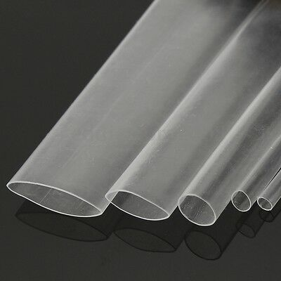 5M 2-12mm Clear Transparent 2:1 Heat Shrink Tube Wire Cable Sleeving Wrap 16FT