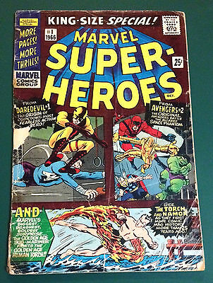 MARVEL SUPER-HEROES #1 1966 ~ EARLY tales of DAREDEVIL #1, AVENGERS #2 COMICS