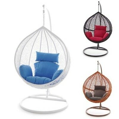 Swing Chair Hanging Chair White Hammock Chair Black Polyrattan Lounger Lounge