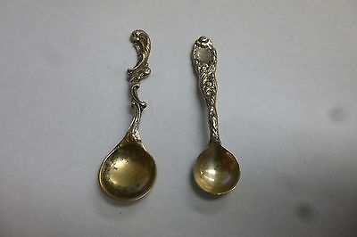 2 Antique Sterling Silver Salt Cellar Spoons 1 Tiffany And 1 Misc