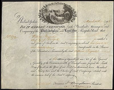 Philadelphia & Lancaster Turnpike Road, one share, 1795, on vellum