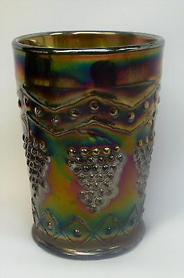 Antique  Blue Carnival Glass Grape Pattern Juice or Water Tumbler