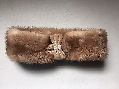 Antique Vintage Mink Collar Scarf Mink Head With Bow