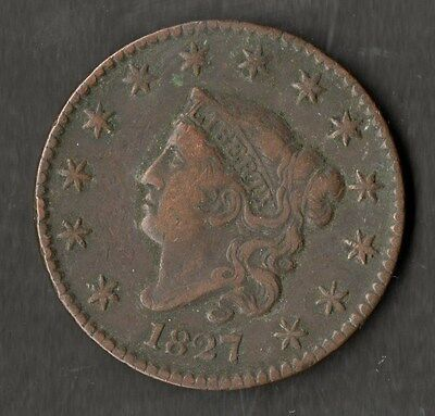 USA Large Size Copper One Cent 1827 GVF