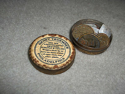 Vintage Troemner Apothecary Scale Weight Set, Original Condition
