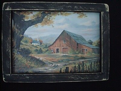 """Primitive Country Print **OLD RED BARN WITH CHURCH** in black frame 9 1/4"""" x 7"""""""