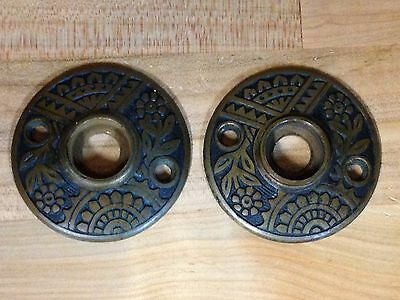 2 Antique Vintage Bronze Aesthetic Victorian Door Knob Rosette Back Plates