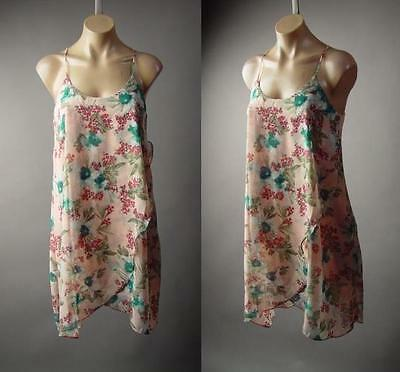 Pink Shabby Chic Country Floral Print Sweet Feminine Babydoll 145 mv Dress S M L
