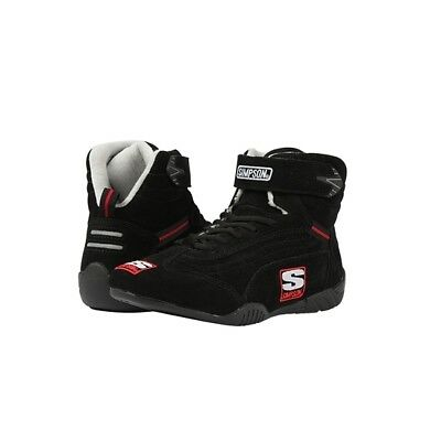 Simpson AD100BK SFI-5 Suede/Nomex Lined Racing Shoes, Black, 10