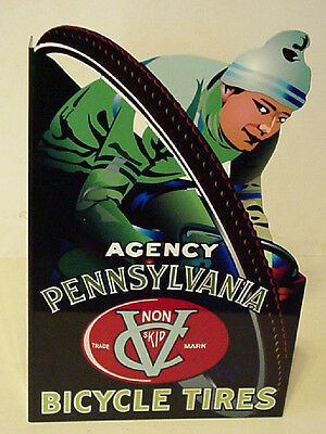 Rare Pennsylvania Porcelain Bicycle Flange Sign Double Sided Mint Condition