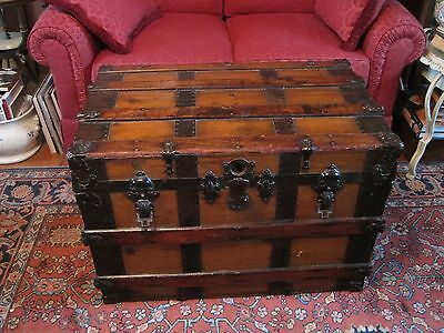 Antique Steamer Trunk Flat Top Wood & Metal