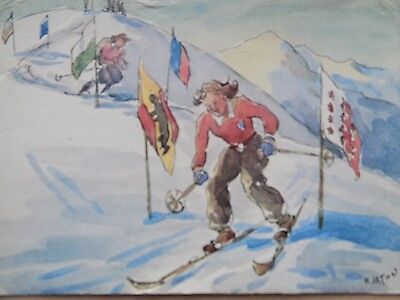Vintage Old Posted Postcard 1948 Switzerland Skiing Women Slalom Joke Humour