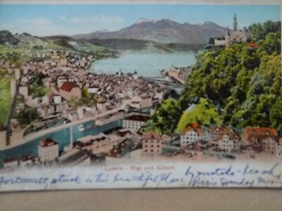 Vintage Old Posted Postcard 1905 Luzern Rigi & Gutsch Lucerne Switzerland a