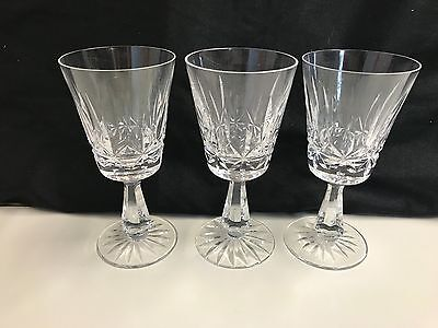 """Set of 3 ~ Waterford Crystal  """"ROSSLARE"""" ~ Claret Wine Glass  ~ 6"""" Tall"""