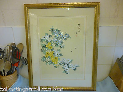 Vintage Signed Chinese Painting  On Silk Flowers and Insects  Scene