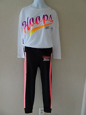 Nwt Justice Size 8 Set Hoops Basketball Top Tee Leggings Outfit Sports New