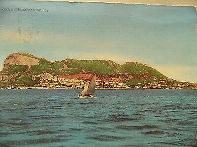 Vintage Old Posted Postcard 1960 Rock of Gibraltar from Bay Spain Yacht Sea a