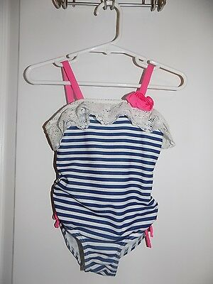 Boutique Penny M Girls Blue Striped One pc Swimsuit Pink Rose Sz 2T Lace Ruffle