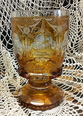 Gorgeous Antique Etched Amber Yellow Crystal? Glass Goblet Vase