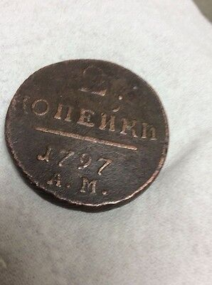 1797 Russian large  2 kopeks copper coin, rare mint AM nice