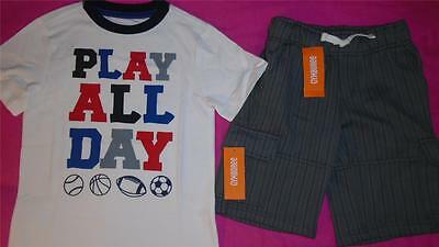 NEW Boys Size 5 5-6 Gymboree Outfit Sports Shirt & Gray Shorts SUMMER $41 NWT
