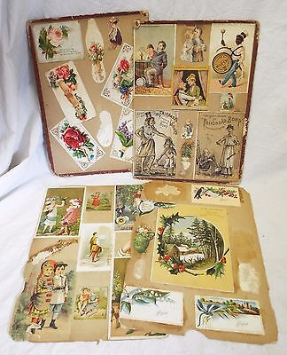 6 Sides of VICTORIAN SCRAPBOOK PAGES 13 TRADE CARDS Black Americana 13 Die Cuts