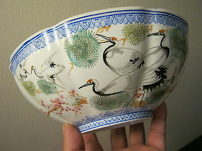 porcelain bowl chinese ultra thin eggshell signed calligraphy heron dragons box