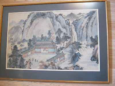 landscape vintage chinese watercolor painting on silk mountain signed mark old