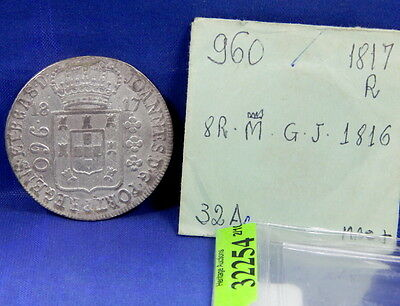 1817 R 960 Reis Silver Brazil Crown Over 8 Reales Silver Crown 1816 Spain O/s